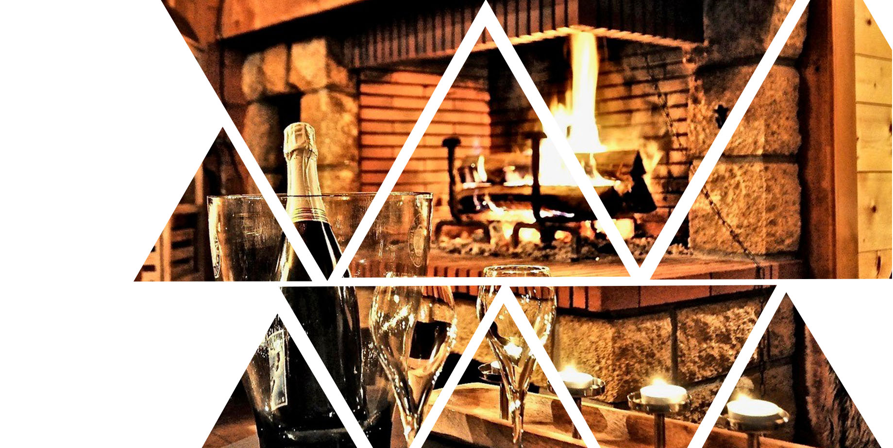 photo of the hotel fireplace with polygon background