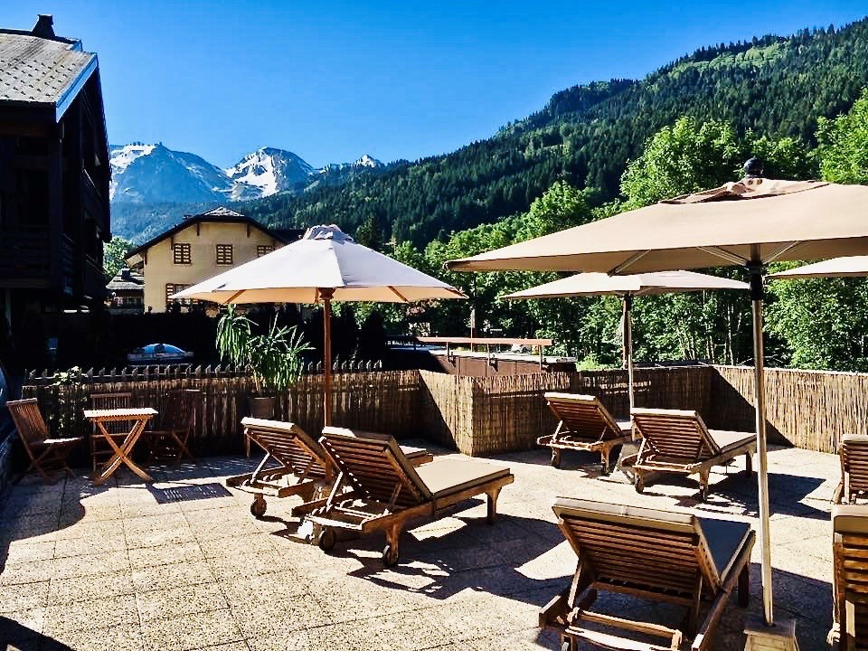 Solarium of the hotel on a beautiful summer day